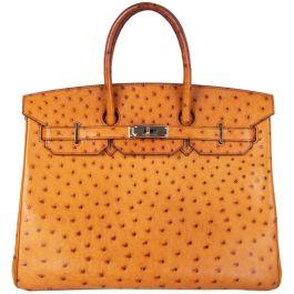 Hermes Cognac Ostrich 'Birkin 35' Bag