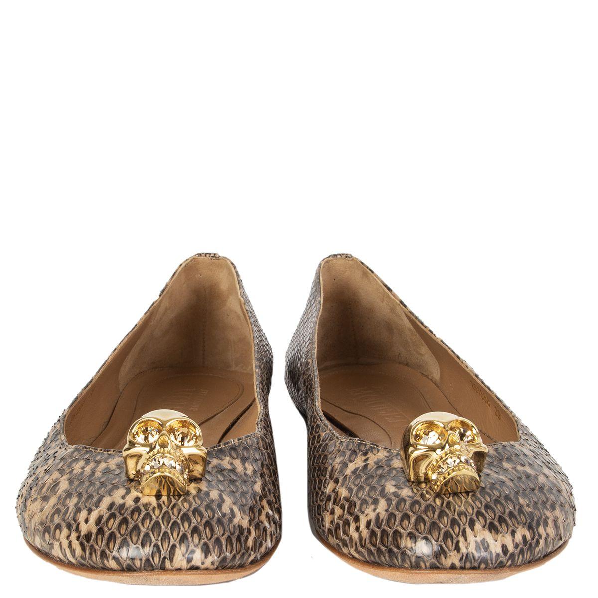 New Alexander McQueen 497795 Metallic Gold Leather SKULL Ballet Flats Shoes